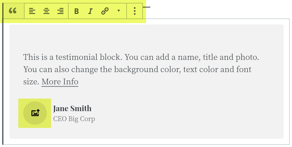 Using the block toolbar in this atomic Blocks newbie tutorial.