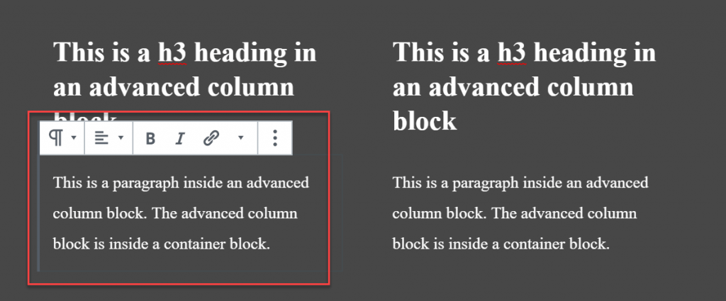 A paragraph block nested inside a column and a container.