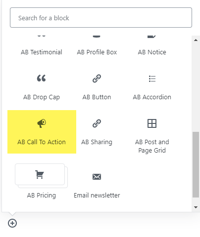 The Call To Action icon in the Atomic Blocks tab.