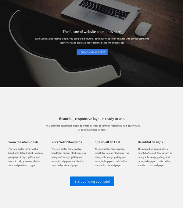 Atomic Blocks Business page layout template.