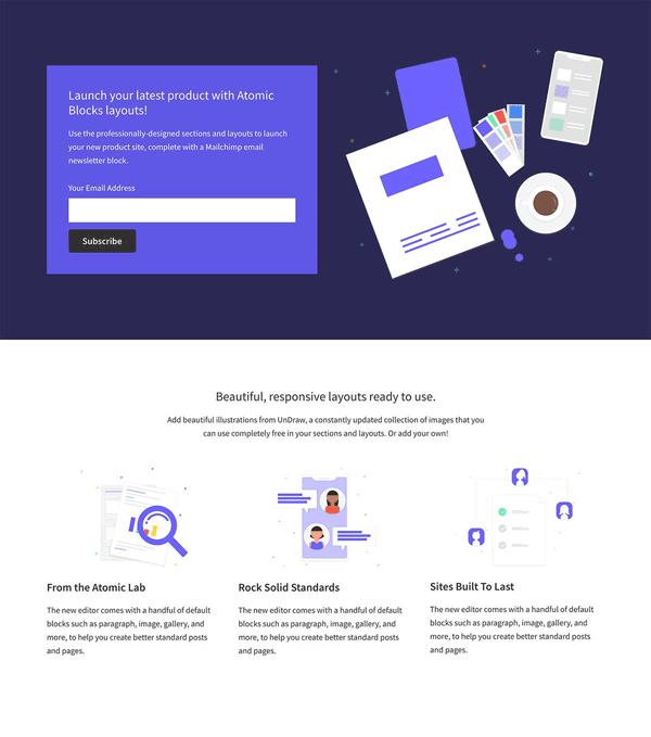 Atomic Blocks Product Launch One page layout template.